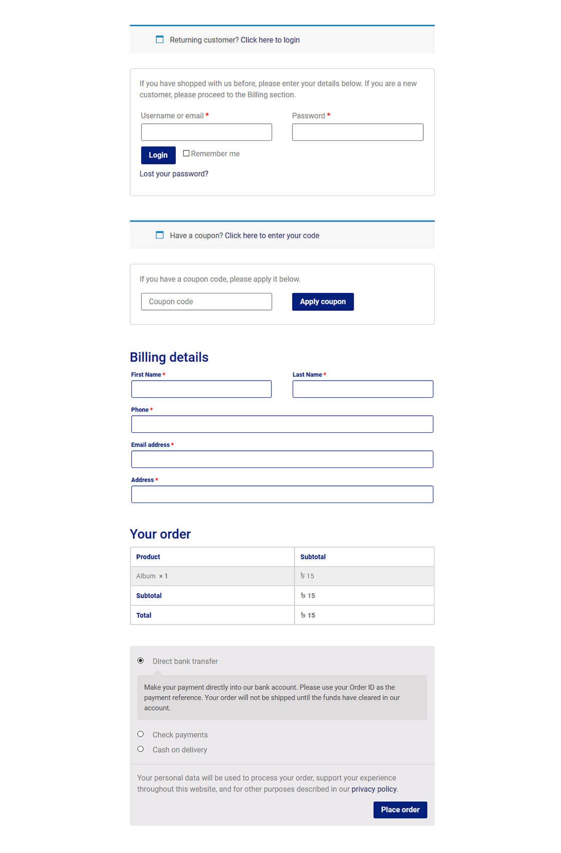 Checkout Page Customization