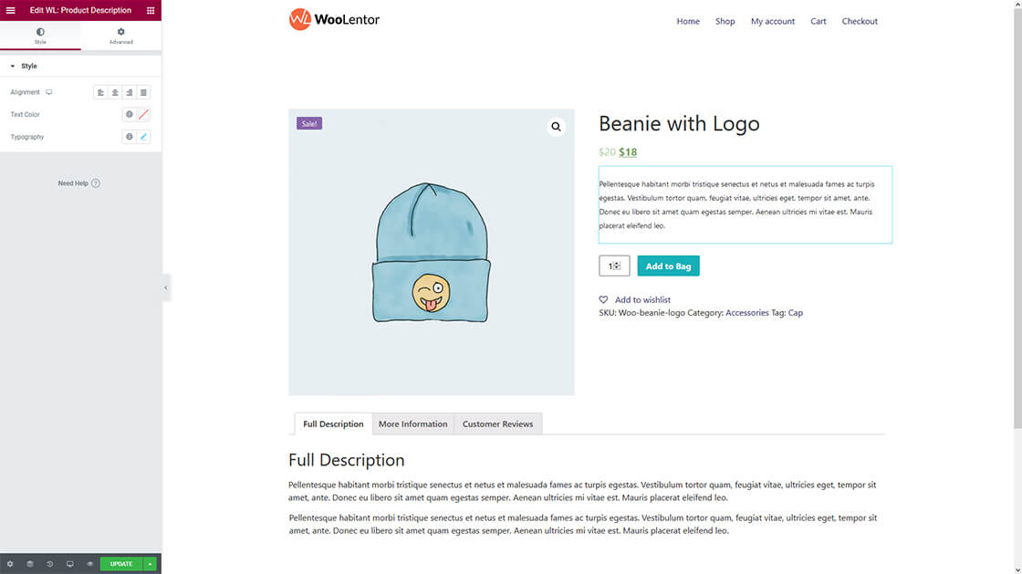 woocommerce product details page